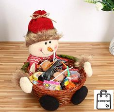 Christmas Candy Storage Basket Decoration Santa Claus Storage Basket Gift Features: Unique Christmas snowman, Dear Santa design and native Be used for candy Christmas Door, Christmas Candy, Christmas Snowman, Christmas Crafts, Christmas Desktop, Christmas Decorations Sale, Festival Decorations, Small Gifts, Gifts For Kids