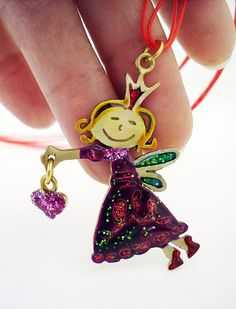 Fairy Necklace Christmas Fairy Bronze Fairy in Purple Enamels by Dialecti Paslidou
