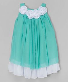 Loving this Teal Rosette Yoke Dress - Infant, Toddler & Girls on #zulily! #zulilyfinds