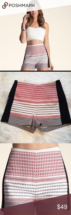 """Bebe high waist techno Tribal print shorts Like new condition. Size 6. 100% cotton with stretch contrast side panels. Rear zip and hidden hook closure. 29"""" unstretched waist. 11.75"""" rise. 2.5"""" inseam. 11.5"""" Leg opening measured flat. bebe Shorts"""