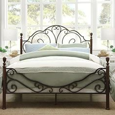 online shopping for Iron Poster Bed Queen Size Elegant Sleigh Style from top store. See new offer for Iron Poster Bed Queen Size Elegant Sleigh Style Wrought Iron Bed Frames, Wrought Iron Headboard, Bed Frame And Headboard, King Headboard, Metal Frames, Ikea Mandal Headboard, Headboards, White Metal Bed, Queen Metal Bed