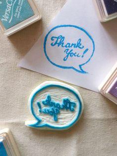 Thank You Speech Bubble Handmade rubber stamp hand by Wongkielala, $7.00