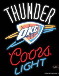 Coors Light OKC Thunder Real Neon Glass Tube Neon Sign,Affordable and durable,Made in USA,if you want to get it ,please click the visit button or go to my website,you can get everything neon from us. based in CA USA, free shipping and 1 year warranty , 24/7 service