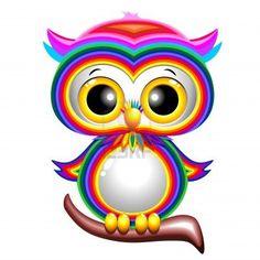 Rainbow Baby Owl Cartoon Stock Photo - 17613838