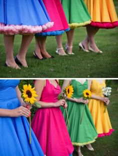 bright 50s bridesmaid dresses - love this idea of the differing bright colours to compliment the colour scheme and could make sure everyone was wearing a colour that matches their skin/hair tones
