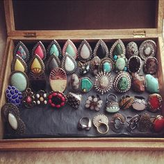 Samantha Will rings. I would kill for this box to put all my SW jewels in Jewelry Chest, Metal Jewelry, Body Jewelry, Jewelry Box, Fashion Jewelry, Women Jewelry, Feather Hat, Fade Styles, Boho Gypsy