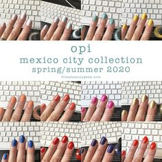 It's the upcoming OPI Mexico City Collection for Spring/Summer Let's look at all da swatches! Opi Gel Nail Colors, Opi Pink Nail Polish, Opi Gel Nails, Nail Color Trends, Toe Nail Color, Spring Nail Colors, Gel Polish Colors, Nail Polishes, Cute Summer Nails