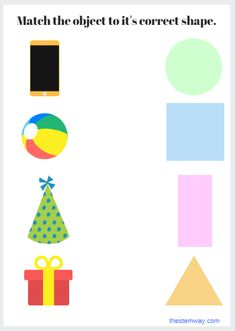Match the object to it's correct shape. Fun Worksheets For Kids, Shapes Worksheet Kindergarten, Preschool Workbooks, Shapes Worksheets, Preschool Learning Activities, Preschool Activities, Learning Shapes, Learning Spanish, All About Me Preschool