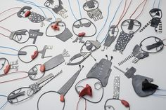 "Selen Ozus Jewelry   ""Friends"" necklace(s) 2013 - silver, porcelain, cotton thread"