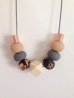 "Polymer Clay Necklace - ""copper & neutral"""