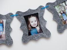 Foto-Girlande mit 6 Rahmen aus Filz von KlebBlatt auf DaWanda.com