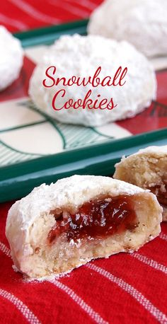 Jam-Filled Snowball Cookies. These are sweet and flaky with a delicious surprise in the middle! Strawberry Jam was my favorite, but any filling will work.
