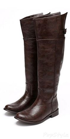Breckelle's BD49 Crinkle Leatherette Thigh High Riding Boot