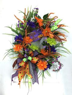 Silk Flower Halloween Wreath Halloween by SouthernCharmWreaths