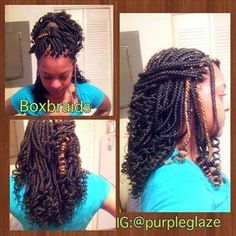 Medium box braids with xpressions braiding hair. Wavy ends ...
