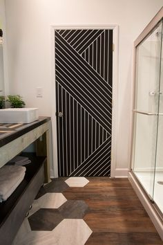 geometric bathroom door with painters tape paint a pattern modern bathroom makeover - Paint Tape Design Ideas