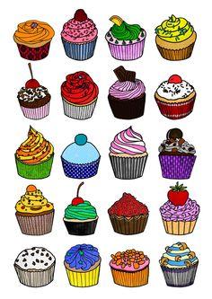 "Cupcakes - Illustration print 13x19"""