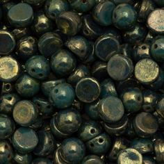 CzechMates 7mm Cabochon Two Hole Beads Persian Turquoise Bronze Picasso 15g (63150BT)