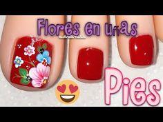 Decoración de uñas para los pies/Diseño de uñas pies en rojo/uñas decoradas pies flores - YouTube Pedicure, Nail Designs, Nail Polish, Nails, Beauty, Ideas, Work Nails, Stickers, Toe Nail Art