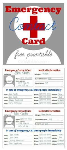 daycare emergency cards - Google Search