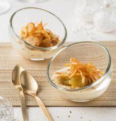 Verrines de ravioles grillées, crème de foie gras et râpé de pommes de terre / Foie gras and potato raviolis