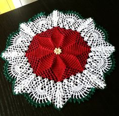 Crocheted Doily 15 inch Elegant Christmas by CMyUniqueCreations