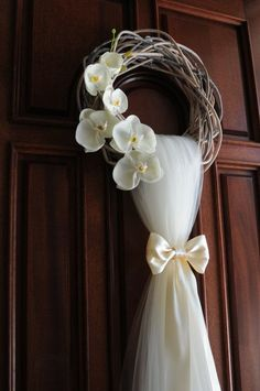 Rustic Wedding Wreath... 15 White Twisted Wreath Wedding and Bridal Shower Door Decoration . This rustic wedding wreath is an extraordinary front door wreath for a wedding or Bridal Shower, handmade with premium tulle and premium artificial flowers and high quality wooden wreath ----