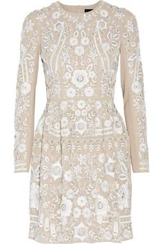 Needle & Thread - Snowdrop Embellished Embroidered Georgette Mini Dress - Beige