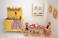 Wooden toys: playkitcshen, shelf, crochet dolls