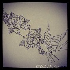 Swallow, claddagh and roses 2.0
