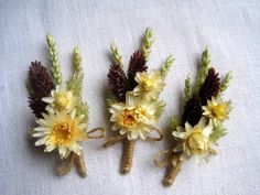 Spring dried wheat boutonniere set 6  groomsman by FlowerDecoupage, €25.50