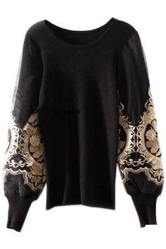 ROMWE   Golden Pattern Puff Sleeves Black Jumper