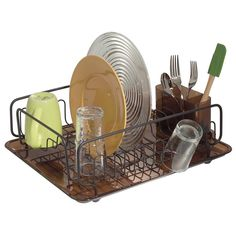 Dish Drainer Sink Drying Rack Tray Cutlery Plate Holder Organizer Basket Glass…
