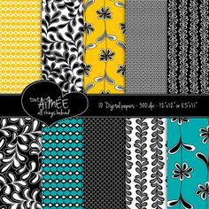 Digital Scrapbooking Patterns  Black White Yellow and by ToutAimee, $6.00