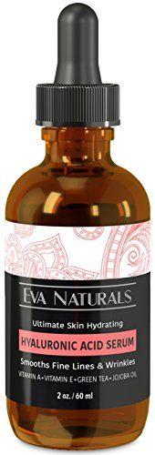 Hyaluronic Acid Serum by Eva Naturals - Anti-Aging, Moisturizing Wrinkle Serum with Vitamin A, E, Jojoba Oil & Green Tea - Intense Hydration for Skin Reduces Fine Lines & Wrinkles - Larger Bottle Size (2 oz) Eva Naturals http://www.amazon.com/dp/B00TXYW3Q8/ref=cm_sw_r_pi_dp_iVU-vb1QDB8CR