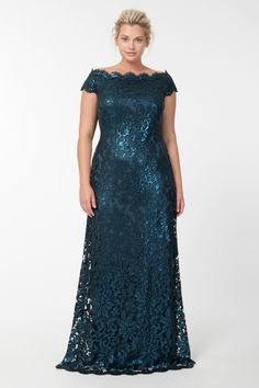 Paillette Embroidered Lace Off Shoulder Gown in Starry Night | Tadashi Shoji Fall / Holiday Plus Size Collection