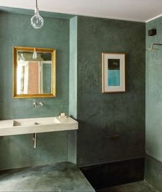 MAD ABOUT INTERIOR DESIGN - gorgeous green bathroom blends classic with modern style
