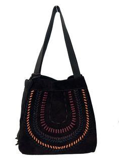 Bolsa em couro camurça de cor marrom e costura de alta qualidade com… 3ce86de08e7
