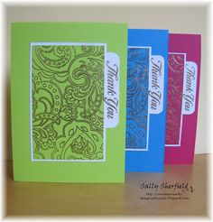 these cards use wet embossing, i'll try a set based on a fantastic patterned paper, with the card base calling out a different color for each one...