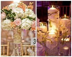 Glass Vase Wedding Centerpiece %u2013 candles and tall florals