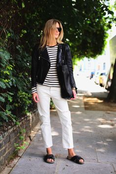 stripes / white jeans / leather jacket  #outfit #style