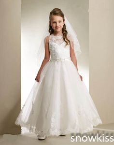 Find More Dresses Information about white/ivory Holy the first communion dress ankle length sheer lace flower girl dresses appliques A line wedding party gowns,High Quality dress up wedding gowns,China gown design Suppliers, Cheap gowns robes from snowkiss on Aliexpress.com