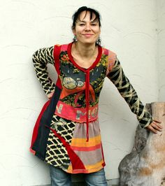 Pop art recycled hot colors dress tunic on Etsy, $87.00