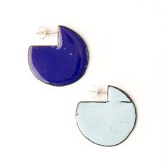 'Enfold' earrings - round Cobalt & Light Blue (double sided so that the same colour faces outwards) vitreous enamel, copper & sterling Silver Vitreous Enamel, Round Earrings, Cobalt, Im Not Perfect, Light Blue, Copper, Faces, Victoria, Jewellery