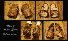 Home-made Viking combat gloves Outside made of mixed thick leather and wax boiled leather (cuir bouilli) - makes them at the same time quite flexible an. Viking Armor, Arm Armor, Fighting Gloves, Viking Reenactment, Combat Training, Leather Armor, Steampunk Costume, Fantasy Armor, Thick Leather