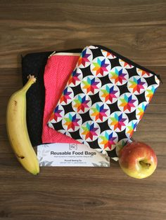 3 Pack Washable Reusable Lined Zippered Food Bag Sandwich Size by PurcellSewingCo on Etsy Reusable Bags, Fruits And Veggies, Safe Food, Sandwiches, Lunch Box, Packing, Banana, Snacks, Kids