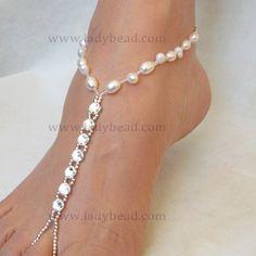 Rhinestone Sandals Freshwater Pearl | FJ201 Freshwater Rhinestone foot jewlery What are you wearing to your destination wedding?