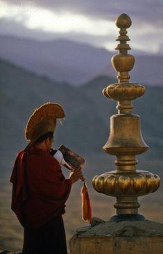 Call to prayer, Thikse Monastery, Ladakh