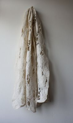Oatmeal Merino Silk Felted Distressed Scarf by red2white on Etsy, $70.00
