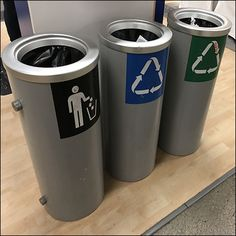 Here separate freestanding containers create this IKEA Choice-of-Three Recycling Bins. One is clearly labeled General Trash Iconically.